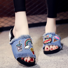 European Denim Slippers Cartoon Embroidery Tassel Flat with Non-slip Shoes Female Summer  Womens Shoes