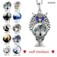 Owl Necklace Vintage Wolf Howling At The Moon Silver Glass Dome Snap Button Jewelry Animal Pendant Accessories