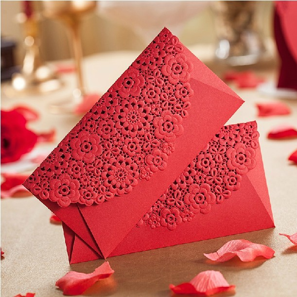 red laser cut flower wedding invitation envelope envelope for