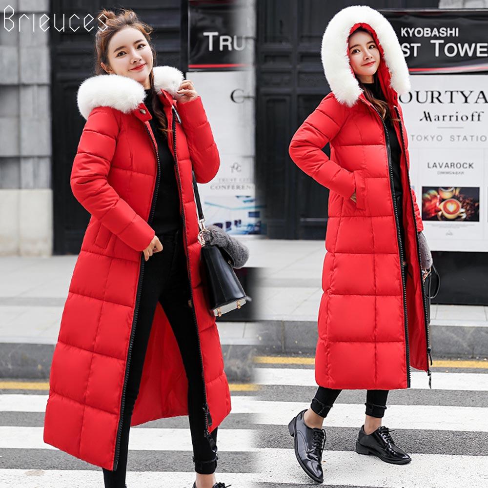 Brieuces 2018 fur collar women winter hooded coat female outerwear   parka   ladies warm woman long jacket slim jaqueta feminina