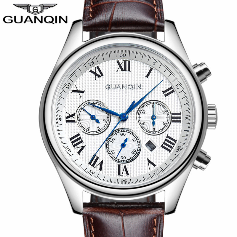 2016 GUANQIN Men Casual Genuine Leather Top Brand Luxury Watches Automatic Date Mechanical Watch Men's Fashion Gift Wristwatch все цены