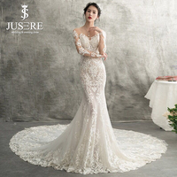 Long Mermaid Lace Gown Scoop Neckline Long Sleeves Shiny Fabric See Through Illusion Back Appliques Detail Wedding Dress 2018