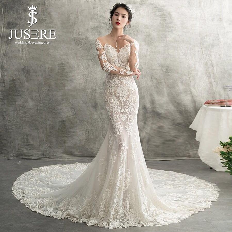 Wedding Gown Fabric Guide: Mermaid Wedding Dress Illusion Neckline Long Sleeves Shiny