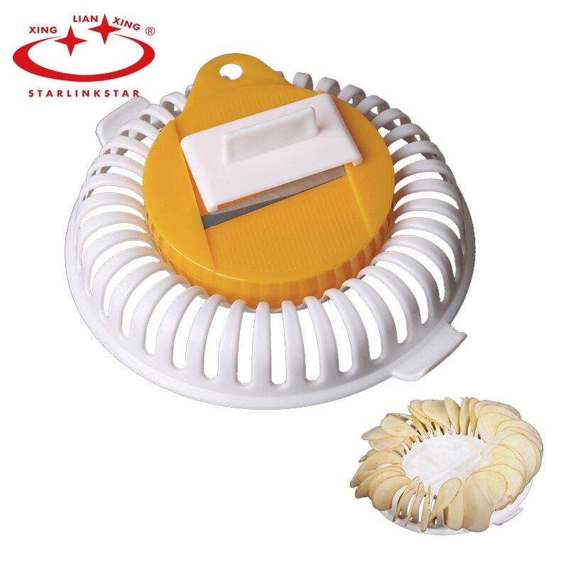 3 Stücke DIY Kalorien Mikrowelle Fat Free Kartoffelchip-hersteller Set Nie Verletzt Finger Kartoffel Slicer küchengeräte messer