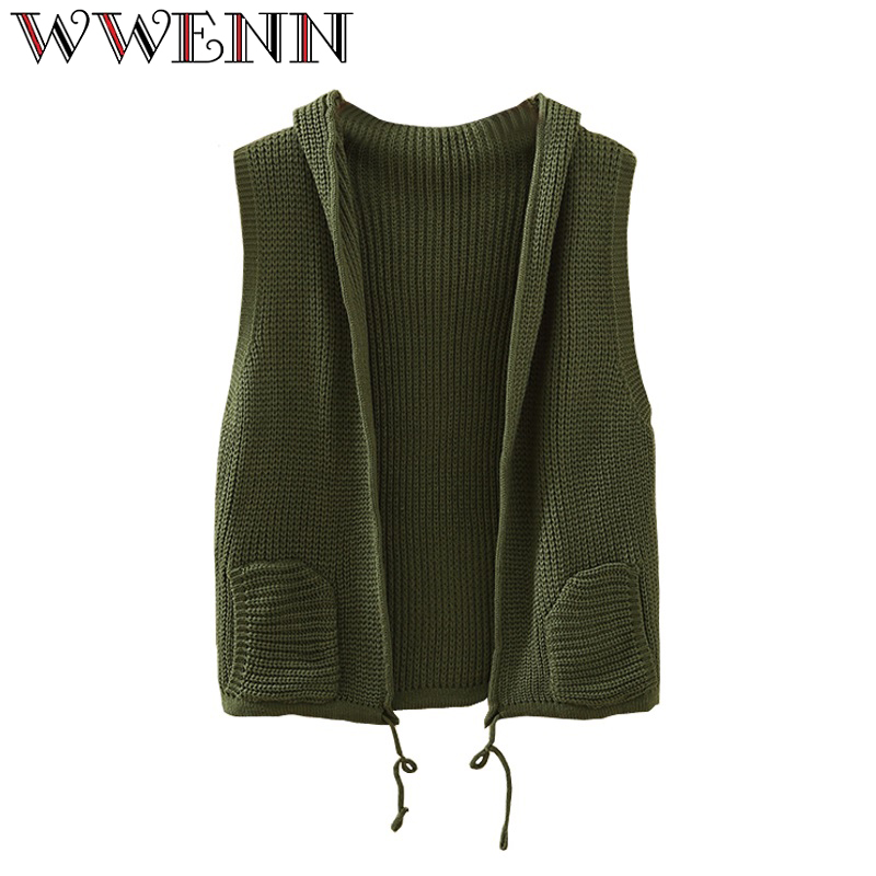 WWENN Women Sweater 2017 New Solid Color Women Sweater pocket Female Cardigan Knit Vest Sweater Cardigan Femme