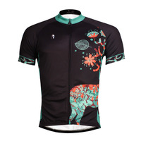 Deer Pattern Men S 100 Polyester Black Short Sleeve Cycling Apparel Summer Breathable Bike Jersey Size
