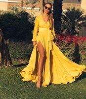 Women Maxi Dress V Neck High Split Side Dress Solid Ruched Stain Long Dress Vestidos