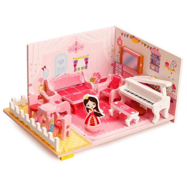 Wooden Mini 3D Doll House Furniture DIY Music Living Room Sofa House ...