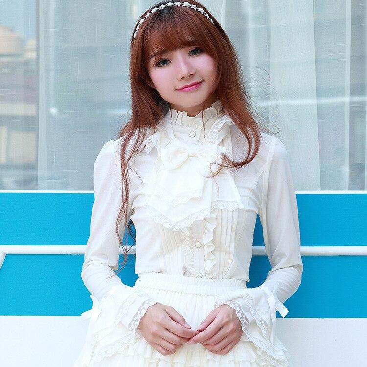 Chemise gothique Lolita court femmes dentelle arc trompette manches évasées hauts Blouse chemises filles douces noir blanc