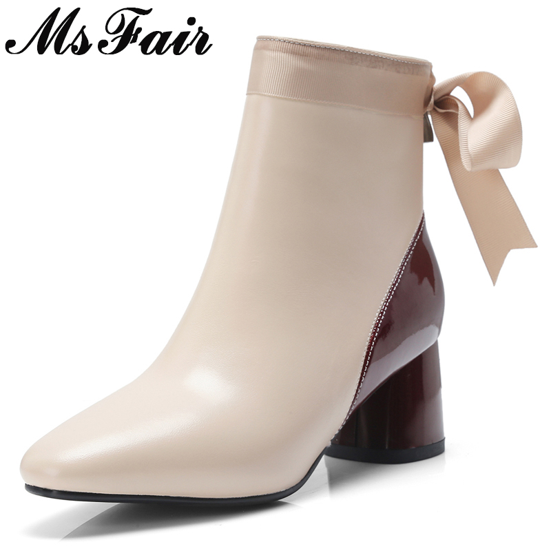 MSFAIR Women Boots 2018 Fashion Zipper Riband Ankle Boots Women Shoes Pointed Toe High Heel Square heel Boot Shoes For Girl msfair women boots 2018 hot selling crystal ankle boots women shoes pointed toe high heel boot shoes square heel boots for girl