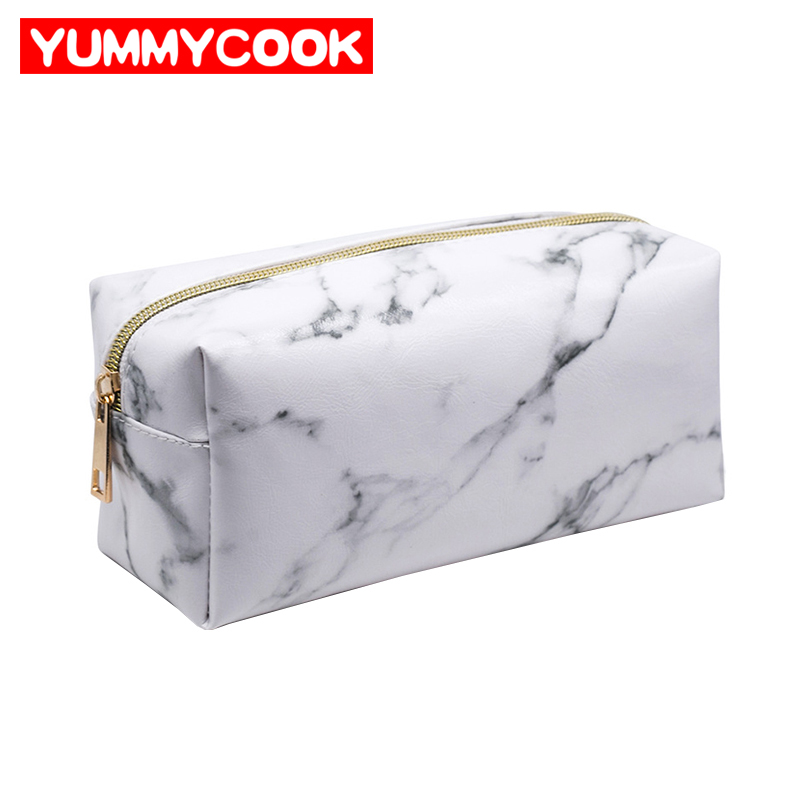 Portable Womens PU White Marble Pencil Case bag Cosmetic Makeup Brushes Holder Pouch Storage Organizer Accessories Supplies
