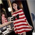 Vestidos de roupas de maternidade 2016 Primavera e No Outono nova versão Coreana de maternidade manga moda listrado arco solto vestido da boneca