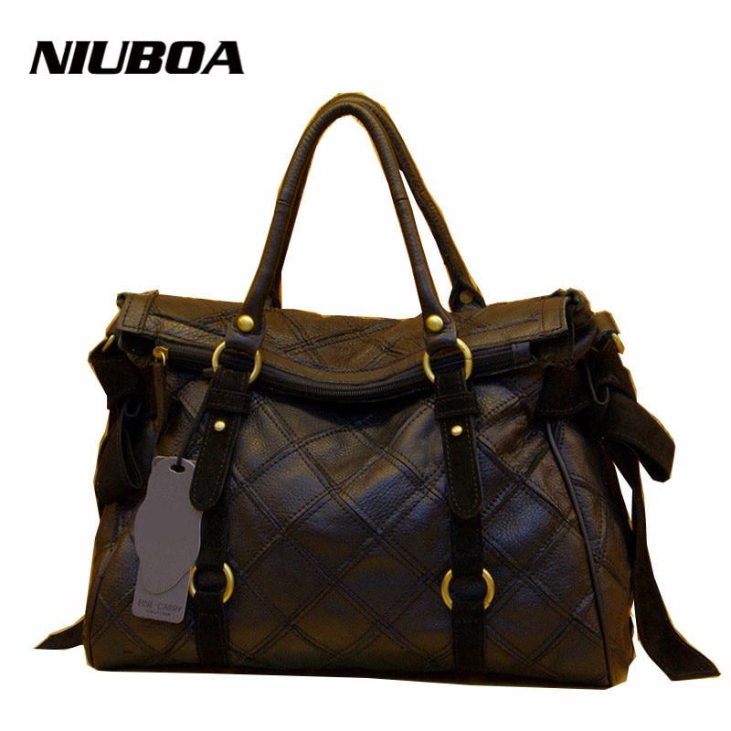 100% Genuine Leather Handbag Women High Level Design First Layer Big Real Leather Shoulder Bag Ladies Splice Black Messenger Bag