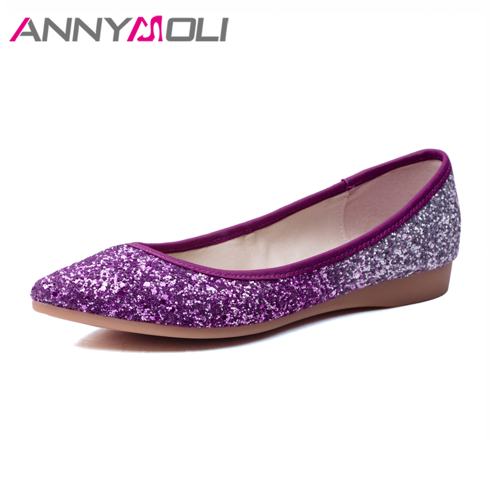 ANNYMOLI Women Shoes Slip On Flats Boat Shoes Bling Pointed Toe Flats Elegant Party Shoe Purple Gold Size 34-40 chaussures femme znpnxn size 34 44 women flats shoes woman handmade boat shoes driving style slip on ballerines femme fhaussures 9 color