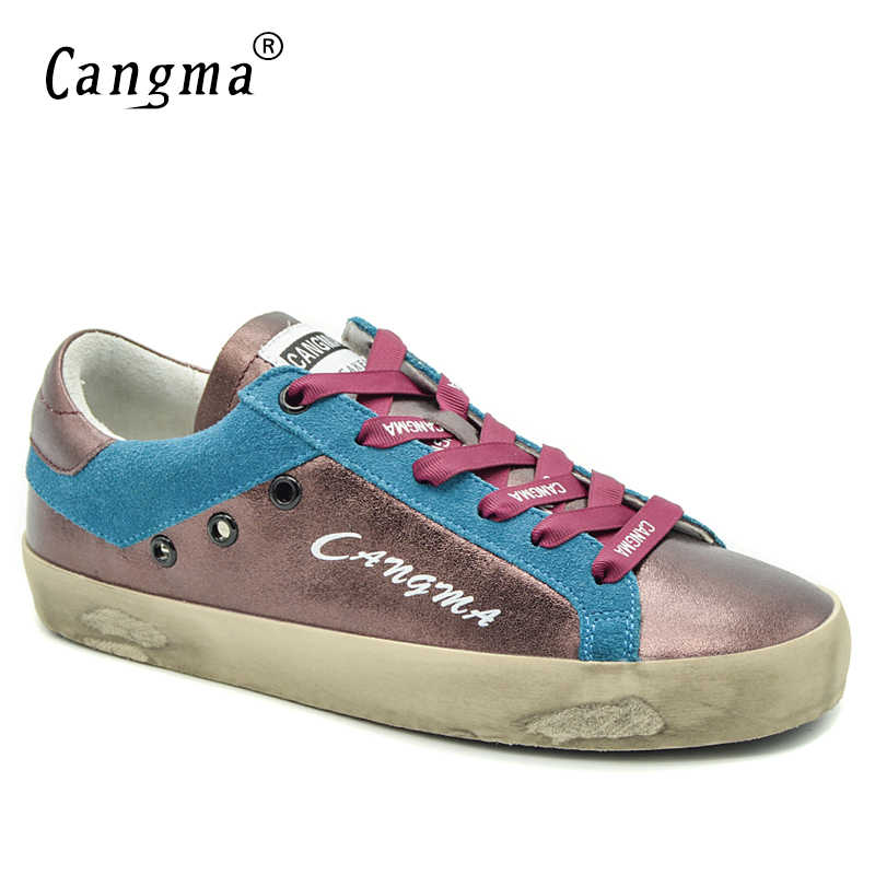 CANGMA Italy Women Casual Shoes Spring Autumn Winered Blue Low Petent  Leather Sneakers Flats Vintage Girl b565d4db7764