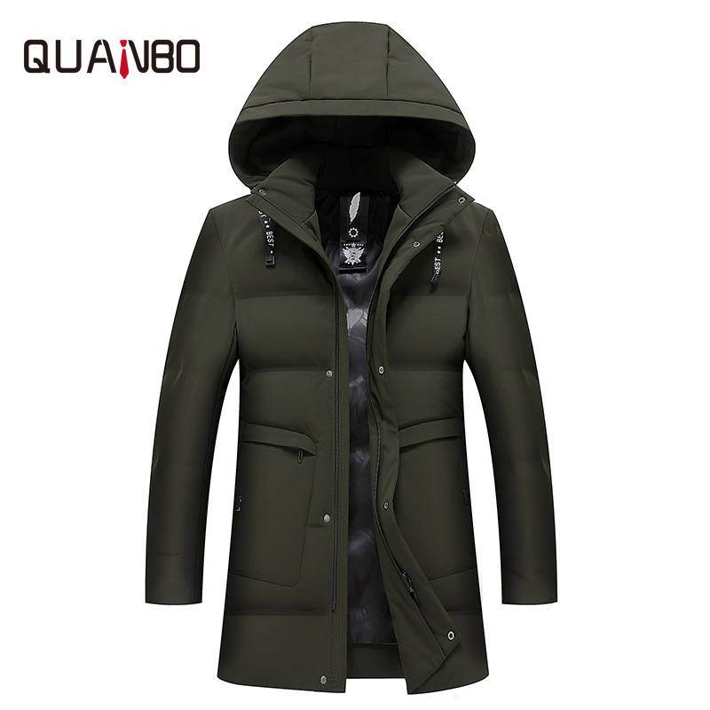 2018 winter men's long hooded   down   jacket Casual brand men's clothing Slim-fit warm white duck   down   long   coat   Removable cap 8821