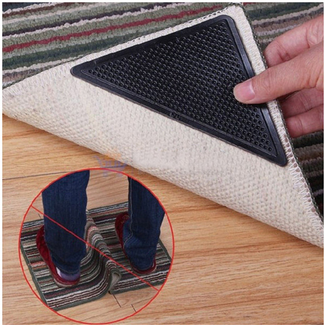4pcs Set Reusable Washable Carpet Mat Grippers Non Slip Silicone Rug Grip For Home Bathroom