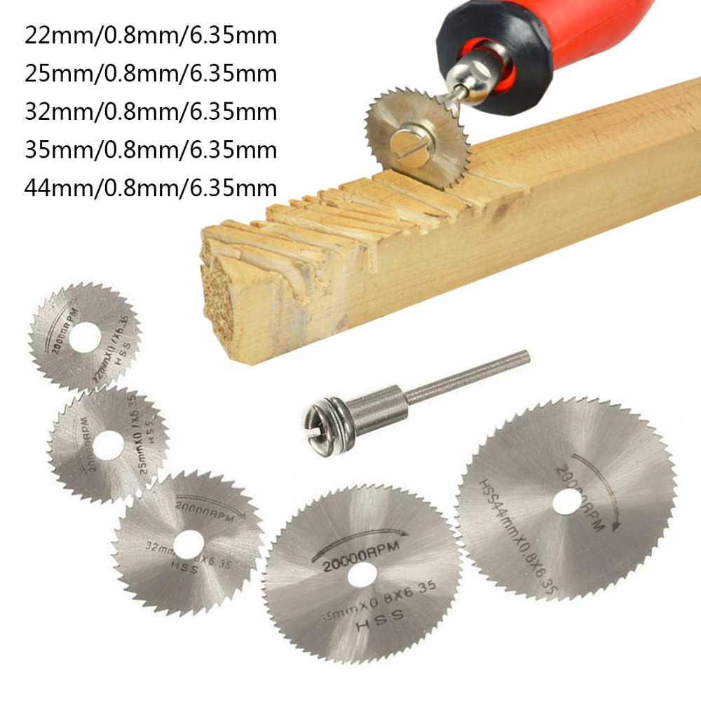 6pcs/Set HSS Mini Circular Saw Blade Woodworking Cutting Discs Drill For Rotary Tools Metal Cutter Power Tool Mandrel Set