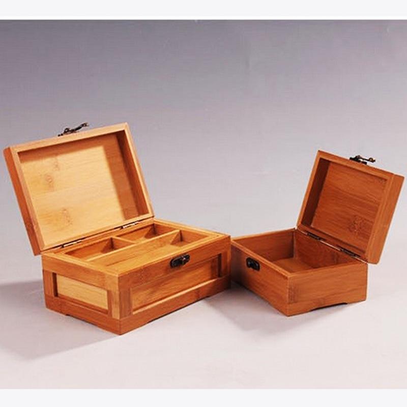 Vintage Bambus Aufbewahrungsbox Schmuck Makeup Organizer Box Bilden