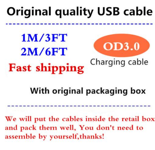 100pcs lot Original quality 1m 3ft 2m 6ft USB Data Sync cable Charger For i5 5S
