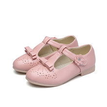 New Low heel Childrens leather shoes Girls bowknot flowers Princess Shoes baby Kids Dance Wedding Party