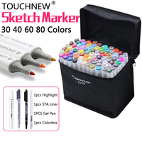 TOUCHNEW Art Markers Set Alcohol Double Ended Copic Sketch Marker Pen Coloring Student School Art Supplies