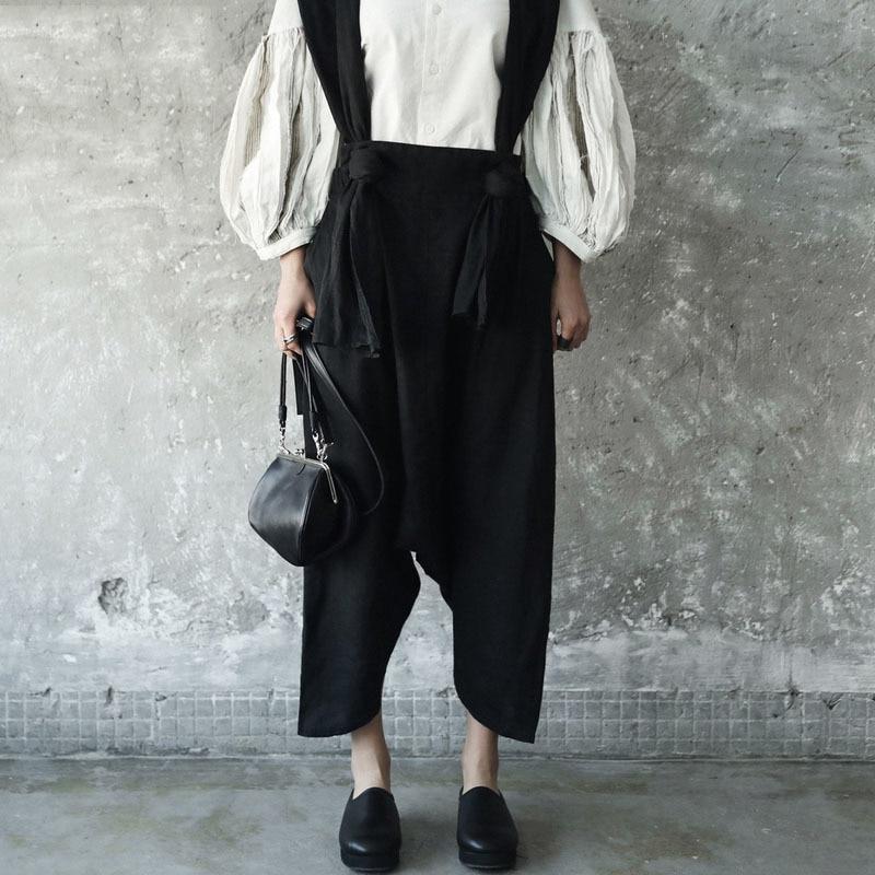 D'été allumette Je82201s Femmes Tempérament Large Tout Bretelles Marée Jambe Poche Mode Automne Nouveau Pantalon Deux De Black 2018 qwvEnxZaHt