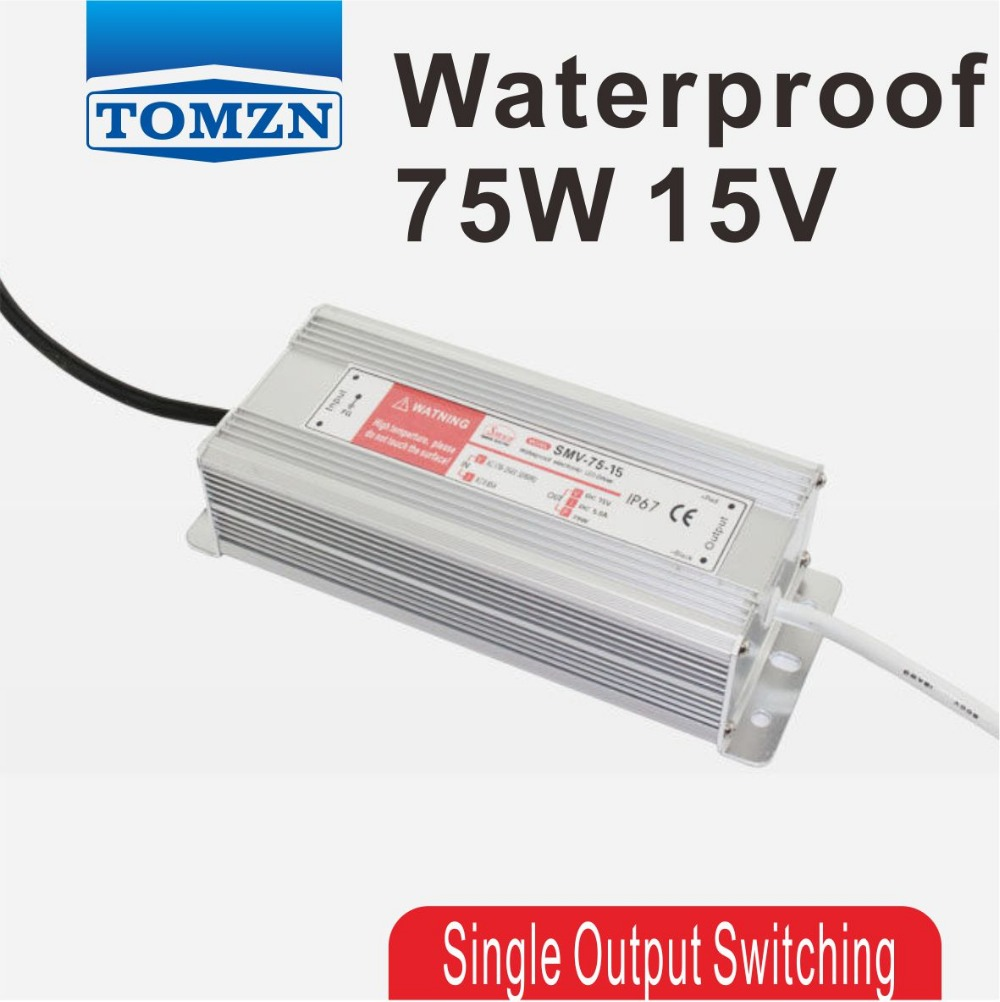 75W 15V 5A Waterproof outdoor Single Output Switching power supply SMPS AC TO DC