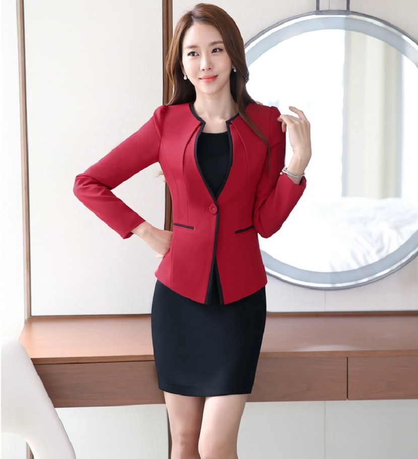 56c5c032644 Plus Size 4XL Professional Spring Fall Formal OL Styles Work Wear Suits  With Jackets And Dress Ladies Office Blazer Outfits Set