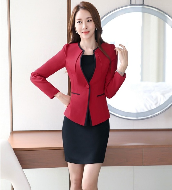 8086bd884c9d7 Plus Size 4XL Professional Spring Fall Formal OL Styles Work Wear Suits  With Jackets And Dress Ladies Office Blazer Outfits Set