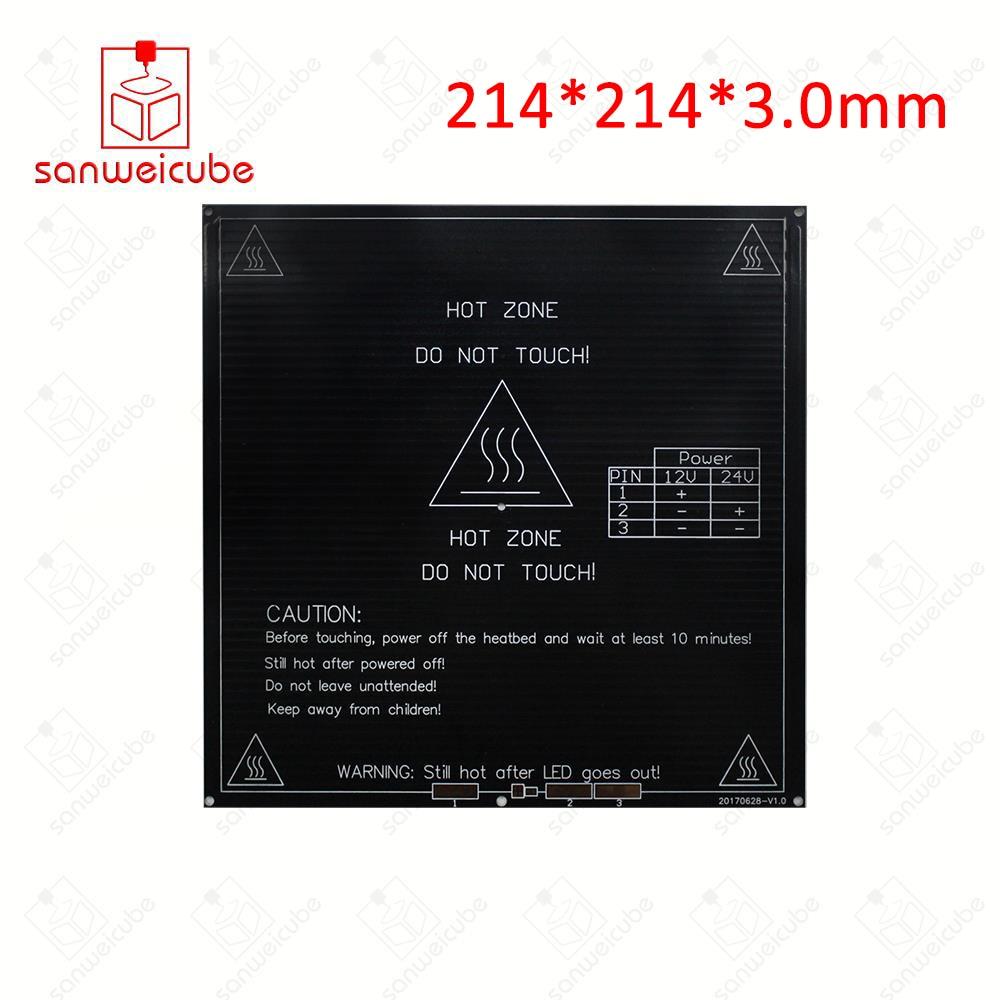 Usongshine 214*214*3.0mm MK3 12V for Reprap Mendel Heatbed Hot HotBed 3D Printers Part Heat 214x214mm Aluminum Plate 3mm black mk3 heated bed 12v 24v parts for reprap mendel heatbed hot hotbed 3d printers part heat 214x214mm aluminum plate 3mm accessories