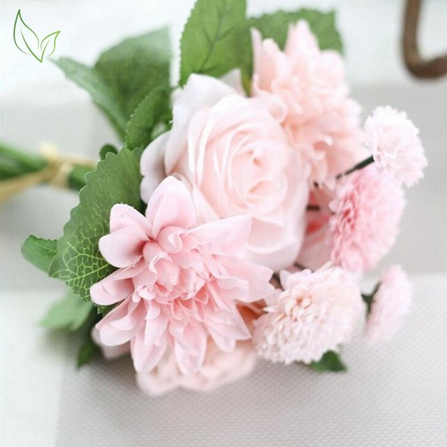 Online Shop Silk flower wedding bouquet roses dahlias artificial ...