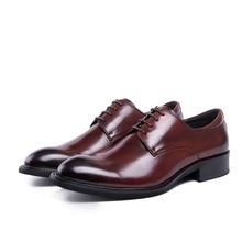 Fashion brown tan / black business shoes mens dress shoes genuine Leather flats formal shoes mens wedding shoes