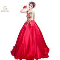2017 Zdjęcie Czerwony Haft Suknia z Rękawami Piwonia Kwiat Koronki Backless Tanie Długi Formalna Prom Dresses Długa Suknia Party