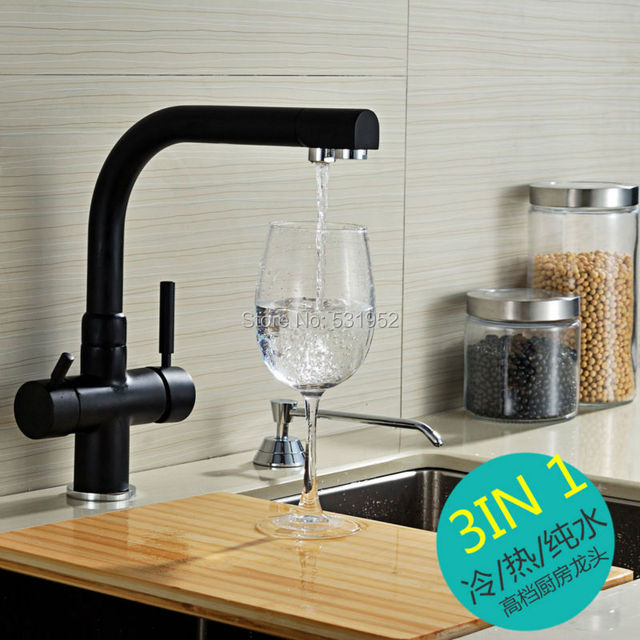 Brand New Solid Brass Black Bronze Kitchen Faucet Double Spout