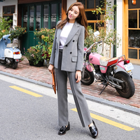 2018 Winter Women Suits Double Breasted Pockets Thick Women Pant Suit Gray Notched Blazer Jacket & High Waist Straight Pant