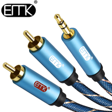 EMK 2 RCA to 3.5mm AUX Splitter Cable 3.5 jack audio plug cable 1.5m 2m 3m 5m for Theater phone Headphone amplifier