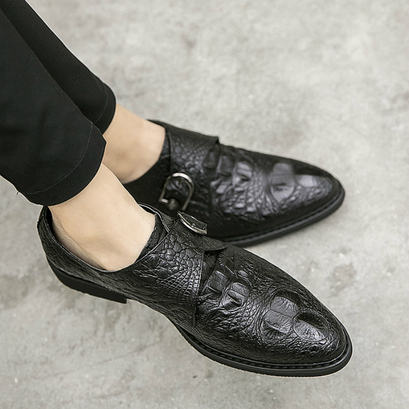 Shoes Fake Snake Skin Print Alligator Leather Shoes Men Loafers Slip On Pointed Toe Men Shoes Casual Slip On 17d50