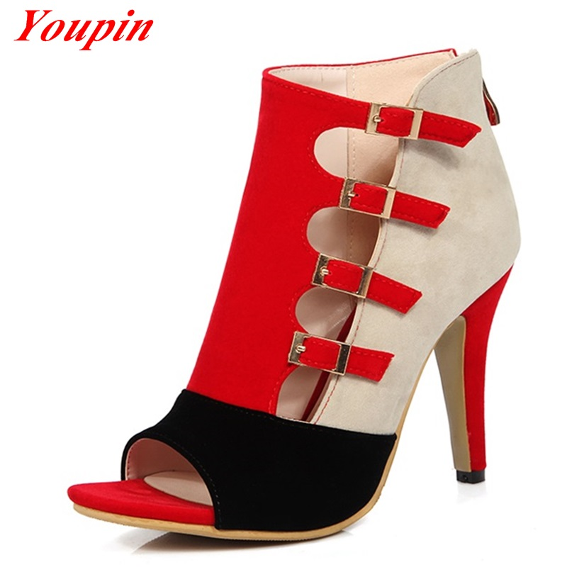 Mixed Colors Thin Heels zipper Pumps 2016 Fashion Party Sandals Nubuck Leather Gladiator Sexy Woman Fine