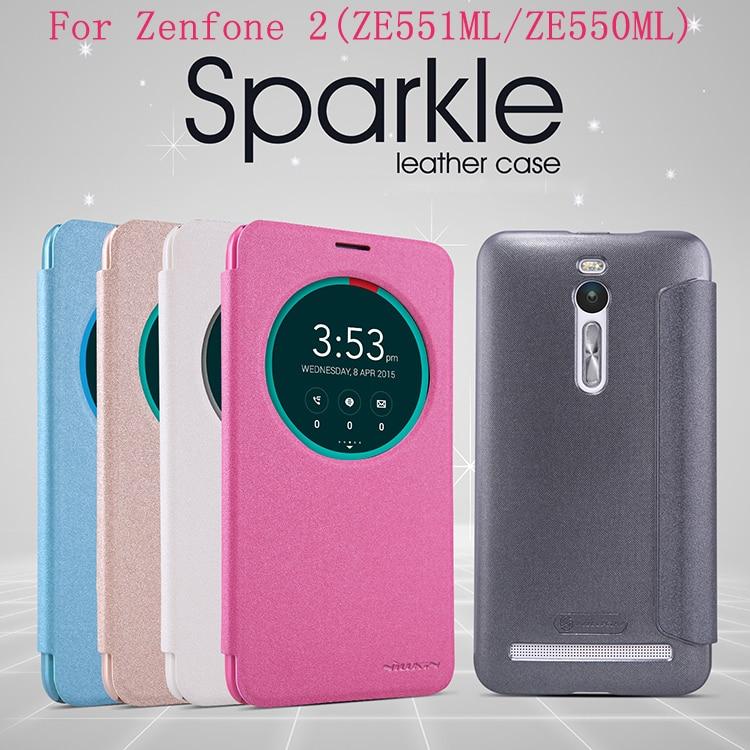 Asus Zenfone 2 ZE551ML case Asus Zenfone 2 ZE550ML Nillkin Sparkle leather case cover window design with wake/sleep function