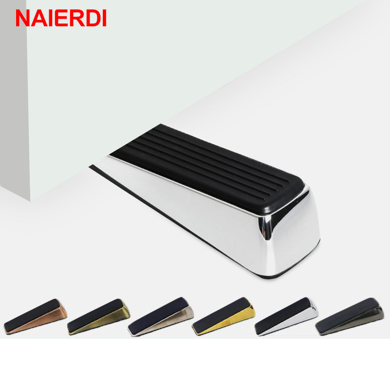 NAIERDI Door Stopper NON-SLIP Zinc Alloy Hidden Door Holders Stops For Wedge Block Guard Wooden Glass Door Furniture HardwareNAIERDI Door Stopper NON-SLIP Zinc Alloy Hidden Door Holders Stops For Wedge Block Guard Wooden Glass Door Furniture Hardware