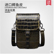 Gete crocodile skin belly male single shoulder bag luxury 24 k gold crocodile leather men's leather leisure men bag