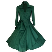 Women New Autumn Winter Belted Vintage Retro 50 60s Slim Solid Long-Sleeve Elegant Party Casual Long Trench Coat