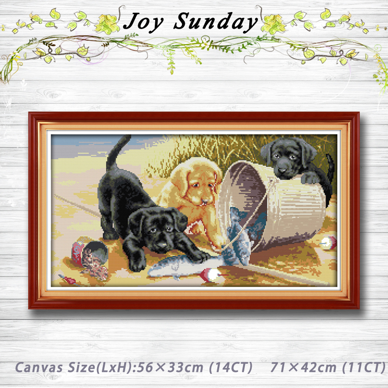 Three dogs diy animal painting Counted Cross Stitch 11CT 14CT Cross Stitch  Set Wholesale Cross stitch Kit Embroidery Needlework da12a630aa5a