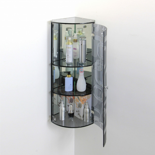 Bathroom Corner wall mounted Triangular Glass storage cabinet and ...