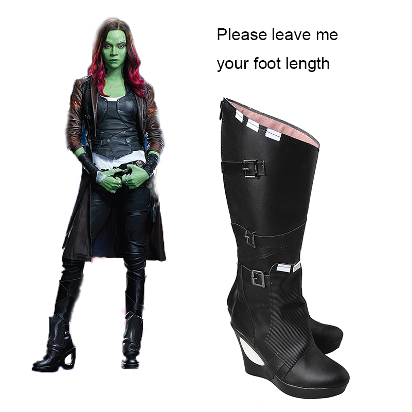 Guardians of the Galaxy 2 Black Shoes Gamora Cosplay Boots Adult Women Movie Heroine Shoes Halloween Props Costume Accessories