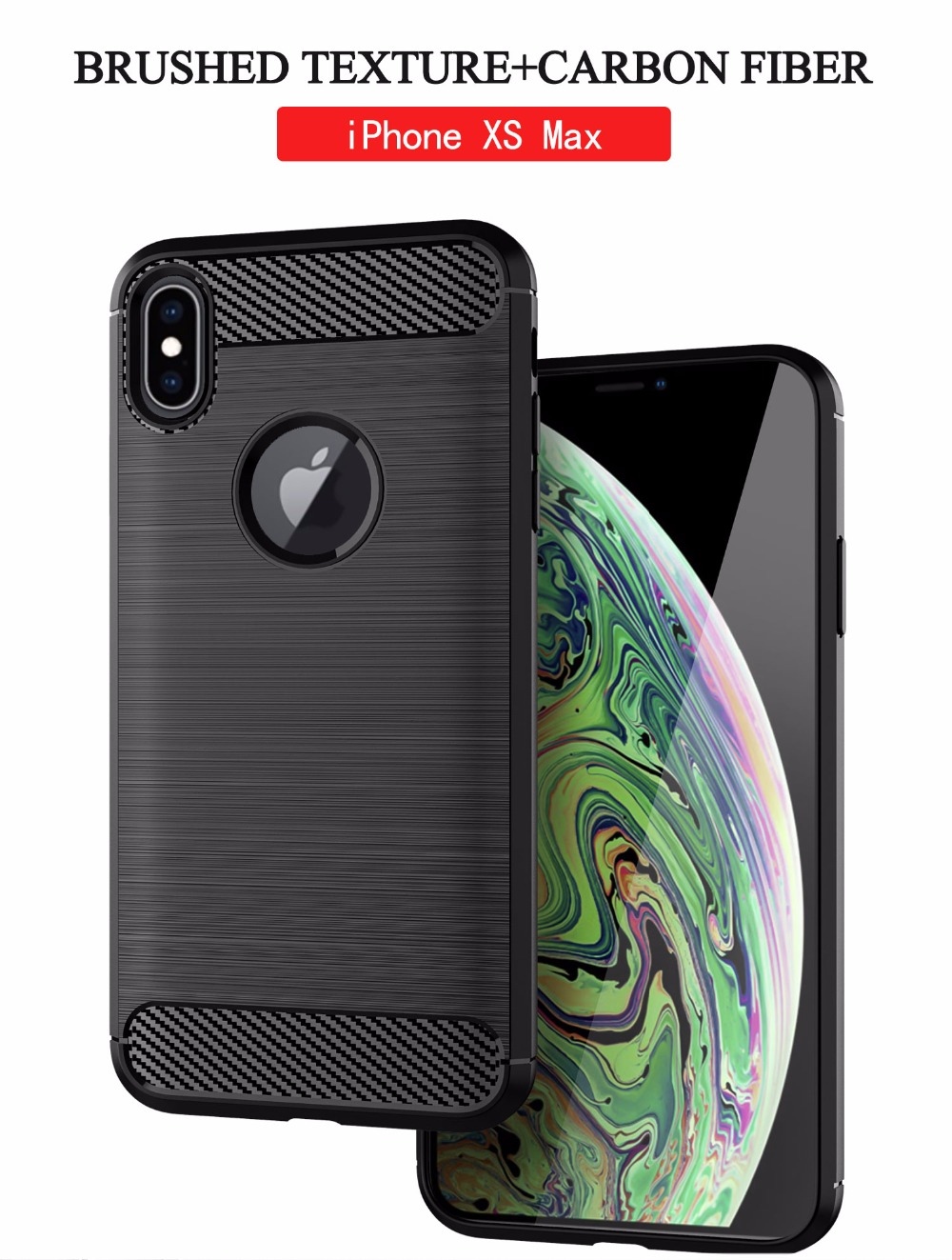 Shockproof Phone Case For iPhone XS Cases for iPhone XS MAX iPhone XR Case Carbon Fiber Soft TPU