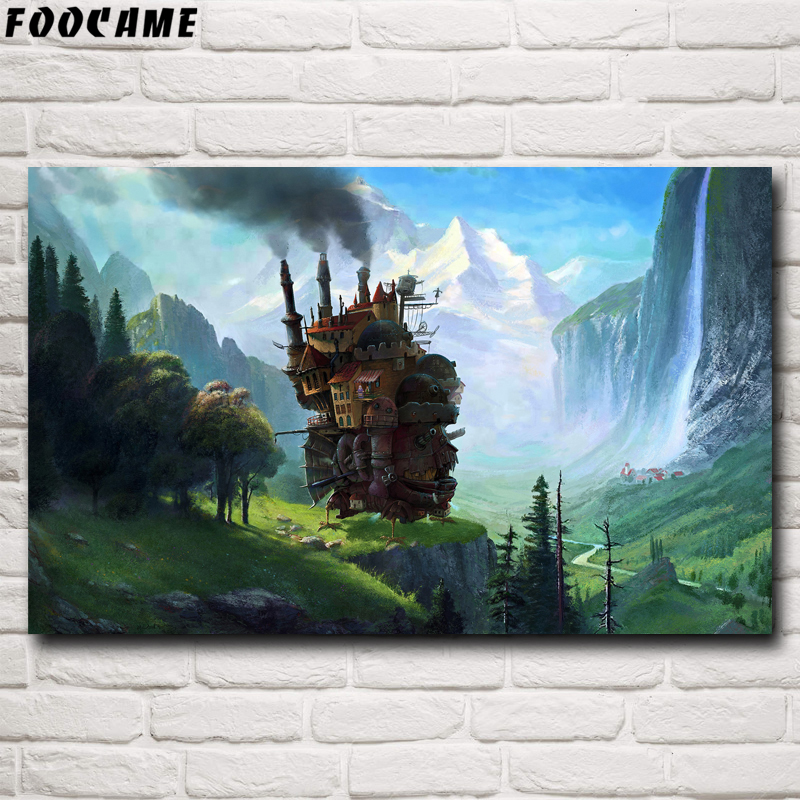 FOOCAME Howl's Moving Castle Miyazaki Hayao Movie Anime Poster Silk Wall Art Prints Home Decoration Painting Decorative Pictures image