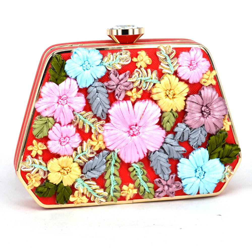 ФОТО Fashion Newest Ribbons Appliques Flowers Clutch Bags Blue Red Women Wedding Party Purse Chain Handbags Ladies Evening Bags 805