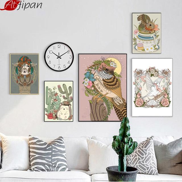 Atfipan nórdico enmarcado pájaro ardilla erizo arte de la pared - Decoración del hogar